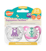 Ulubulu Purple & Teal Monster Pacifiers 0-6M (Girl)