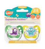 Ulubulu Purple & Light Blue Monster Pacifiers 0-6M (Unisex)