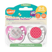 Ulubulu Pink Plaid Heart & Pink Moroccan Pattern Pacifiers 0-6M (Girl)
