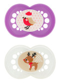 MAM Winter Holiday Silicone Pacifiers 6+ m, 2 pk, Girl