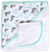 JJ Cole Hooded Towel Set, Aqua Whales