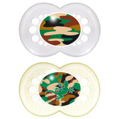MAM Camo Orthodontic Silicone Pacifiers 16+ m, 2 pk, Clear