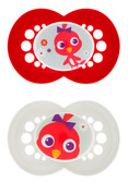 MAM Cartoon Orthodontic Silicone Pacifiers 6+ m, 2 pk Red/White