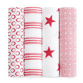 Aden + Anais Classic Swaddles 4-Pack, (aden+anais)RED