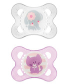 MAM Animal Orthodontic Silicone Pacifiers 0-6 m, 2 pk, Girl