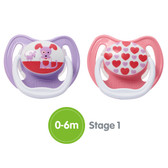 Dr Brown's PreVent Silicone Pacifiers 0-6 m, 2 pk, Girl