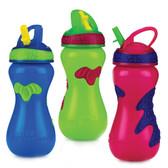 Nuby Gator Grip Sports Bottle with Flip-It Straw, 15 oz, 1 pk