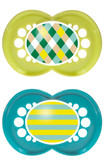 MAM Trends Orthodontic Silicone Pacifiers 6+ m, 2 pk, Blue/Green