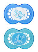 MAM Clear Orthodontic Silicone Pacifiers 6+ m, 2 pk, Blue