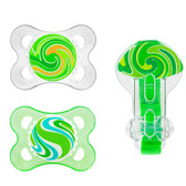 MAM Stripes Orthodontic Silicone Pacifiers, 2+ m Value Pack Green
