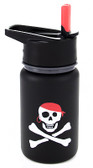 Eco Vessel Scout Kids Stainless Steel Water Bottle with Flip Straw, 13 oz, Black With Pirate