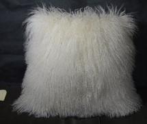 "Mongolian lamb Natural White 18 ""  Fur Pillow made in USA Tibet cushion"