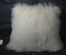 Mongolian lamb  fur Pillow Natural white 22 x 22 Fur  made in USA Tibet cushion
