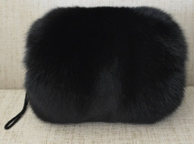 Real Black fox fur hand muff