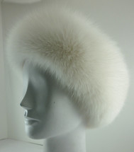 Real white fox headband
