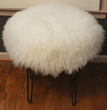 Real Natural White Mongolian Lamb Fur Stool Tibet Lamb Bench Made in USA Ottoman