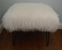Mongolian Lamb Fur Bench Natural White Tibet Lamb Stool Made in USA Ottoman