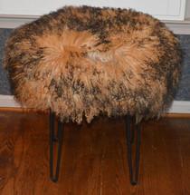 Real Mongolian Lamb Fur Stool 2 ToneTibet Lamb Bench Made in USA New Ottoman