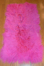 Real Mongolian  Tibet Fuchsia Pink  Lamb Fur Rug  Plate  Throw New  genuine