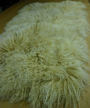 Real Mongolian  Tibet  Lamb Beige Snowtop 2 tone Fur Rug  Throw plate genuine