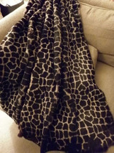 Fur Throw Real Genuine Sheared Rabbit Dyed Giraffe New  made in usa  authentic