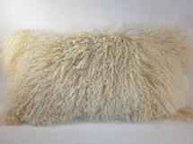 Mongolian Lamb Fur beige 2 tone  real genuine Pillow New cushion  USA