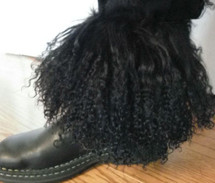 Real Black Mongolian tibetan lamb Detachable Fur Boot cuffs made in the usa