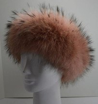 Fur Headband Raccoon Dyed Mauve New (made in the U.S.A.)