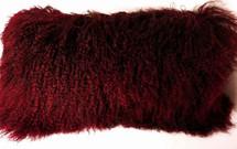 Mongolian Lamb Fur Pillow Burgundy New made in USA Real Tibet cushion Tibetan Wine