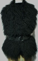 Black Mongolian Tibetan Lamb Fur Collar Vest made in the U.S.A.