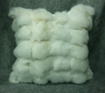 Fox Fur Pillow New made in USA real authentic genuine white sections