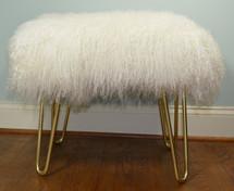 Real Natural White Mongolian Lamb Fur Bench Tibet Lamb Stool Ottoman Brass Legs