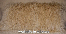Mongolian Lamb Fur Pillow Caramel made in usa Real Genuine  Camel  Authentic Tibet cushion