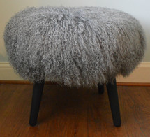 Mongolian Lamb Stool Silver Mid Century wood legs New USA made Grey Tibet  Sheepskin