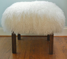 Natural White Mongolian lamb stool with parsons style wood legs