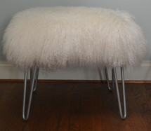 Real Mongolian lamb stool with silver finish Hairpin Legs Made in the USA