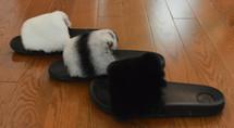 Real fur slides Rex Rabbit fluffy slippers