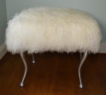 Real Natural White Mongolian Lamb Fur Bench Tibet Lamb Stool Ottoman Aluminum Legs