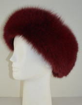 Real Fox Fur Headband Cranberry