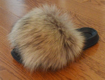 Real Raccoon  Fur Slides Fox Sandals Slippers