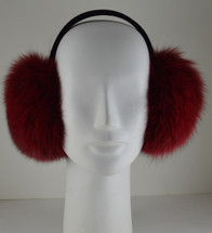 Real fox fur earmuffs cranberry wine