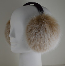 Real Fox fur  earmuffs Blush Snow Top