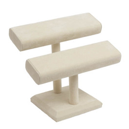 Suede Double T-Bar Bracelet or Bangle Stand - Square