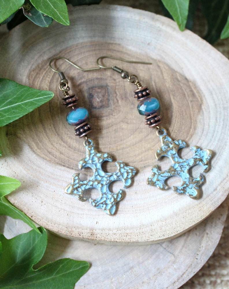 Antique Brass Cross Earrings