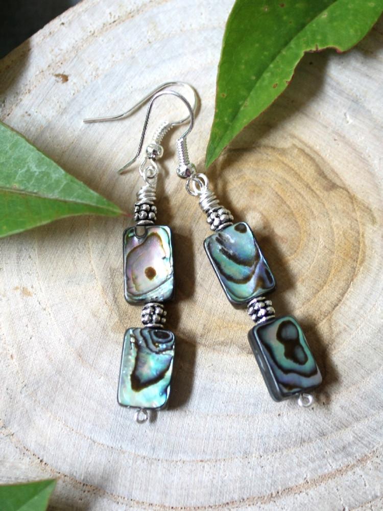 Abalone & Pewter  Earrings