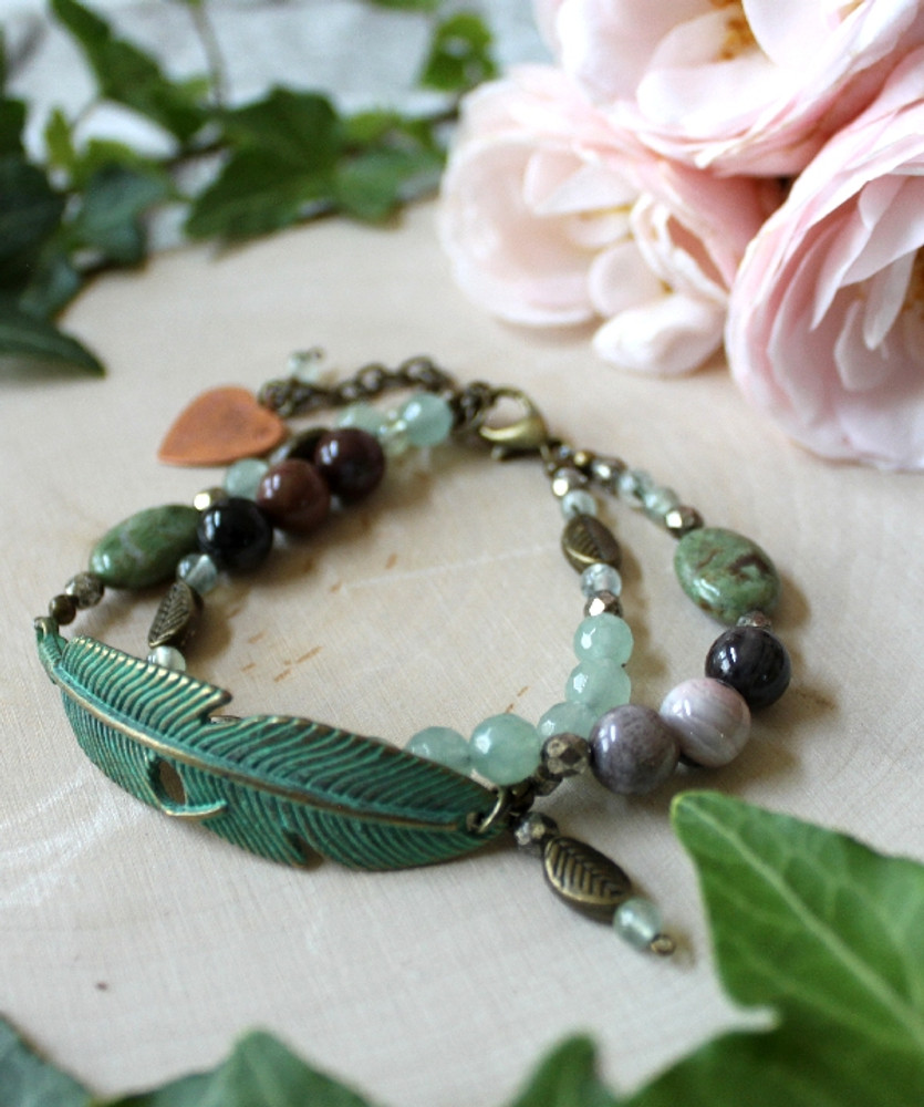 Feather Beaded Bracelet