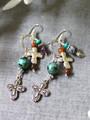Cross Charm Dangle Earrings