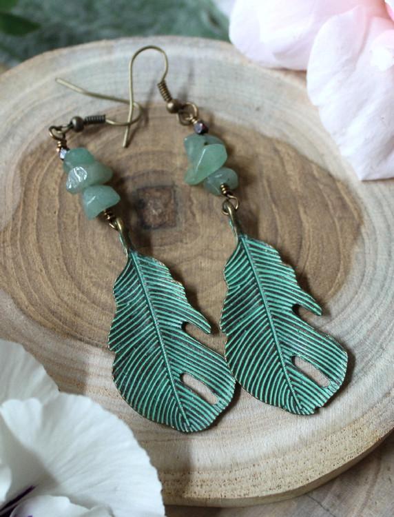 Verdigris Leaf Earrings