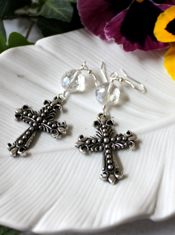 Crystal & Cross  Earrings