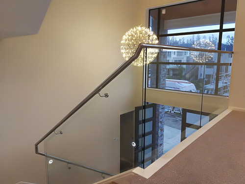round offset rail and stair glass balustrade